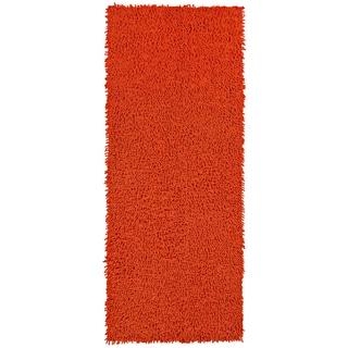 Orange Shagadelic Chenille Twist (2'x5') Shag Runner