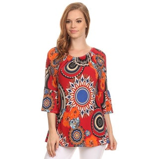 MOA Collection Women's Medallion Polyester Boatneck Tunic