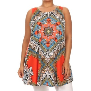MOA Collection Women's Multi-color Polyester/Spandex Plus Size Sleeveless Top