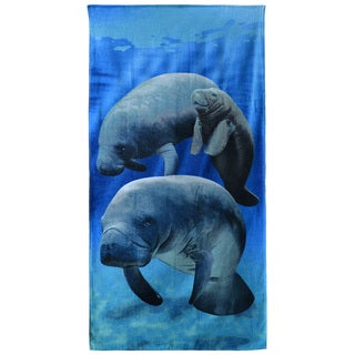 Manatees and Baby Multicolor Cotten 30-inch x 60-inch Beach Towel