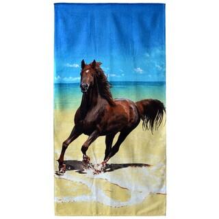 """Beach Horse 30"""" x 60"""" Cotton Beach Towel"""