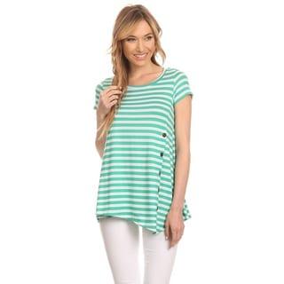 MOA Collection Women's Striped Ryon/Spandex Button Tab Shirt