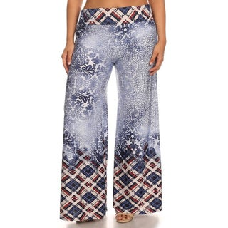 MOA Collection Womens Casual Palazzo Blue Polyester Spandex Plus Size Border Print Pants