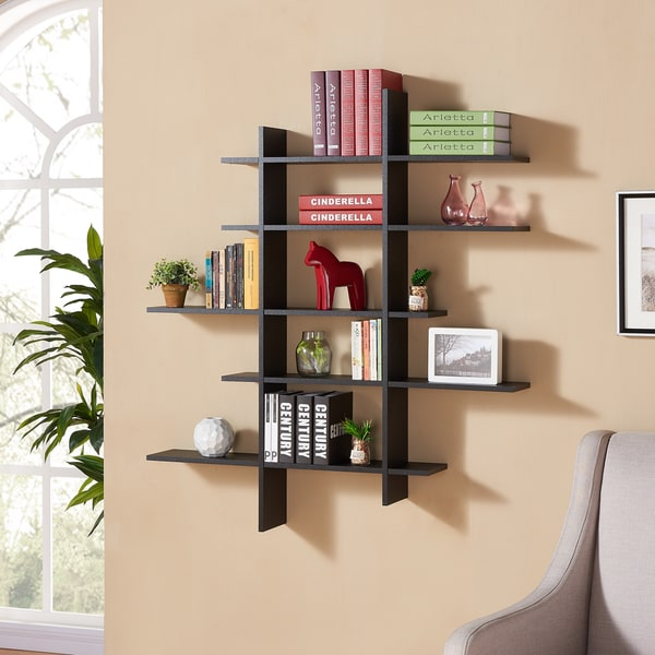Danya B Five Level Black Asymetric Wall Shelf
