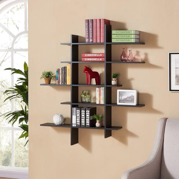 Danya B Five Level Black Asymetric Wall Shelf