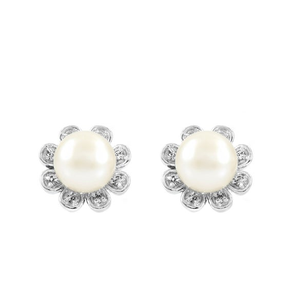 Flower Imitation Pearl Stud Earrings