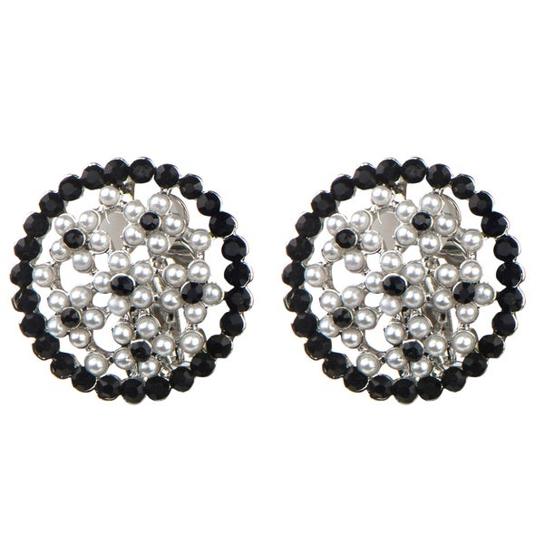 Silver and Black Faux Pearl Button Clip On Earrings