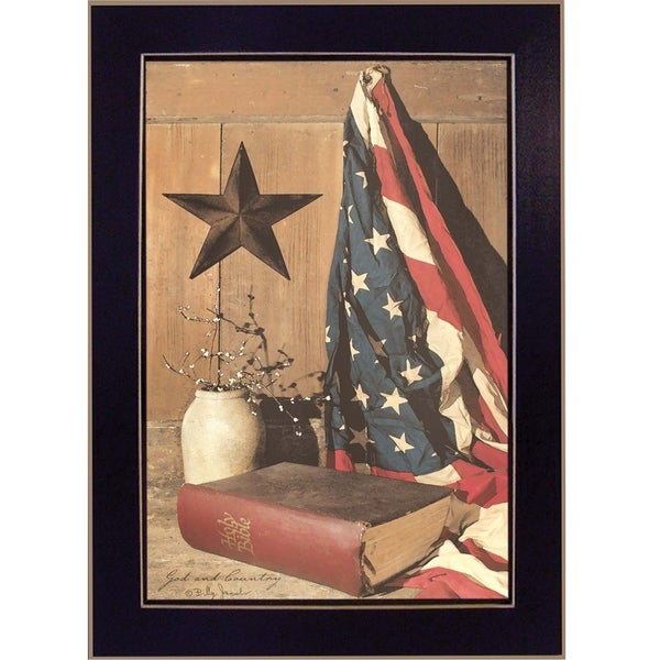 """God and Country"" By Billy Jacobs, Printed Wall Art, Ready To Hang Framed Poster, Black Frame 18765077"