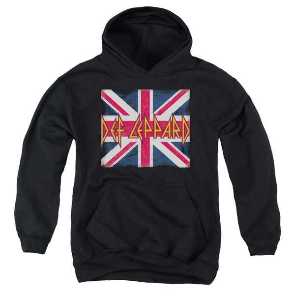 Def Leppard/Union Jack Youth Pull-Over Hoodie in Black