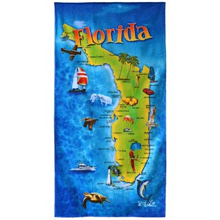 "Florida Map Multicolored 30"" x 60"" Cotton Beach Towel"