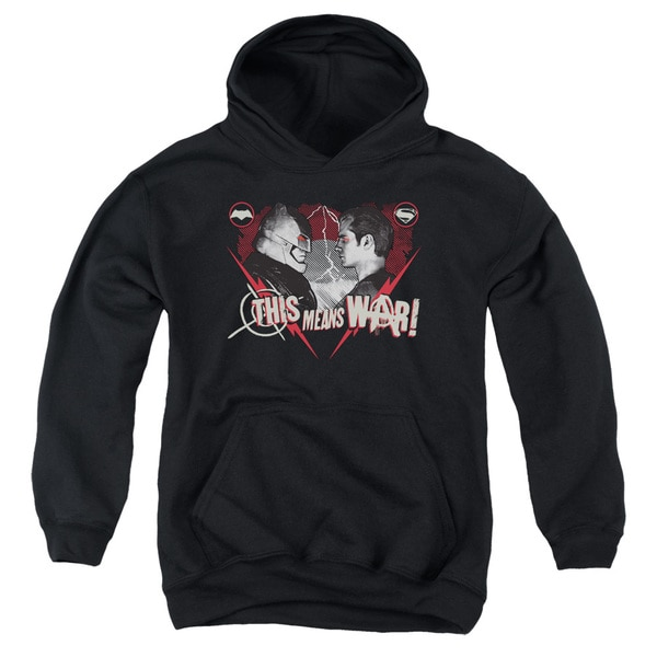 Batman V Superman/This Means War Youth Pull-Over Hoodie in Black