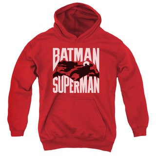 Batman Vs Superman/Silhouette Fight Youth Pull-Over Hoodie in Red
