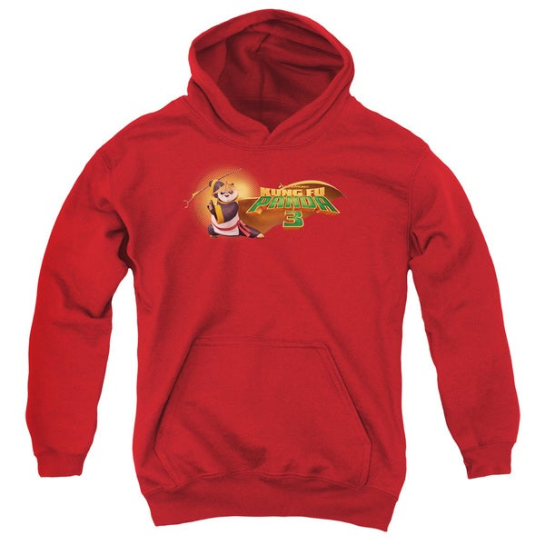 Kung Fu Panda/Po Logo Youth Pull-Over Hoodie in Red