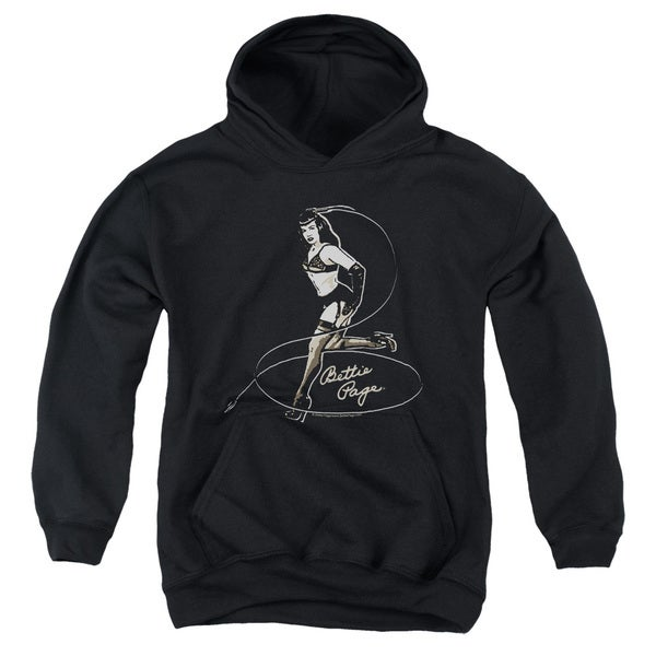 Bettie Page/Whip It! Youth Pull-Over Hoodie in Black