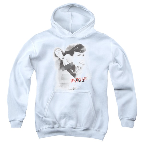 Bettie Page/Transparent Bands Youth Pull-Over Hoodie in White