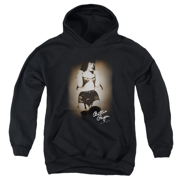 Bettie Page/Caught Youth Pull-Over Hoodie in Black