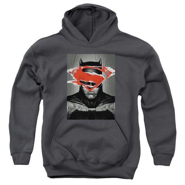 Batman Vs Superman/Batman Poster Youth Pull-Over Hoodie in Charcoal