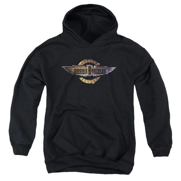 Doobie Brothers/Biker Logo Youth Pull-Over Hoodie in Black