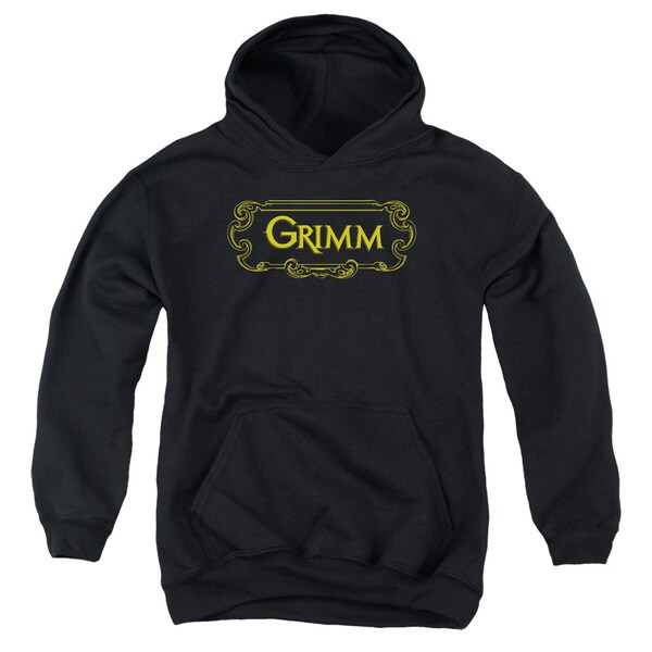 Grimm/Plaque Logo Youth Pull-Over Hoodie in Black