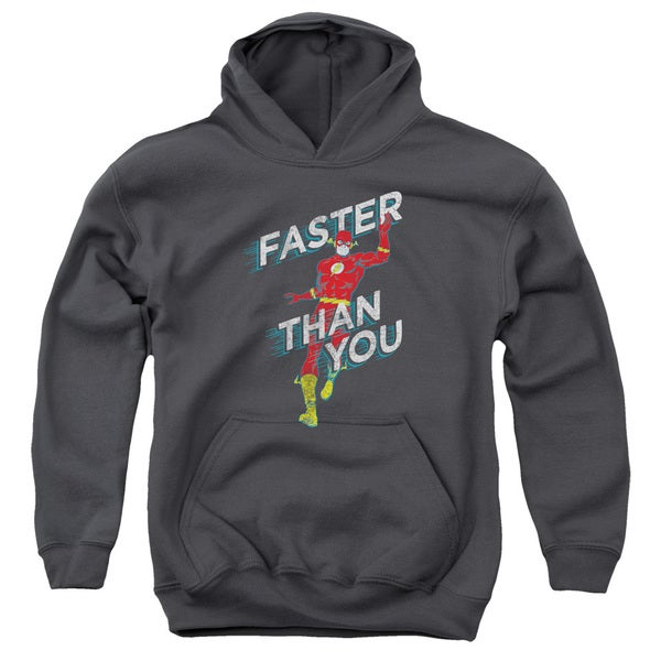 DC/Faster Than You Youth Pull-Over Hoodie in Charcoal