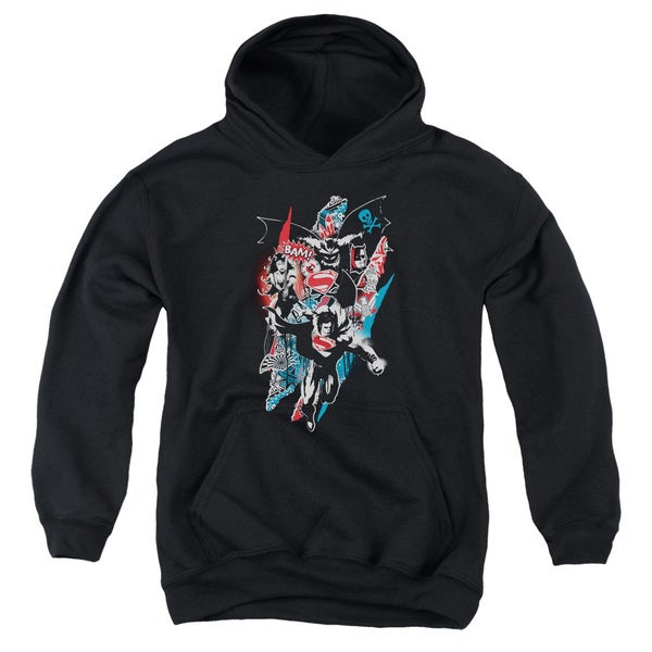 Batman V Superman/Ripped Trio 2 Youth Pull-Over Hoodie in Black