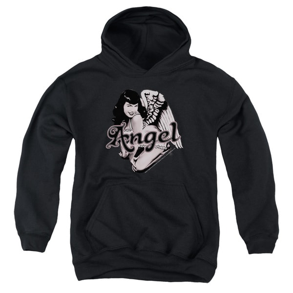 Bettie Page/Bettie Angel Youth Pull-Over Hoodie in Black