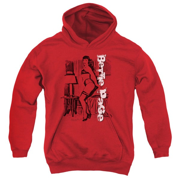 Bettie Page/Shake It Youth Pull-Over Hoodie in Red
