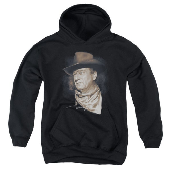 John Wayne/The Duke Youth Pull-Over Hoodie in Black