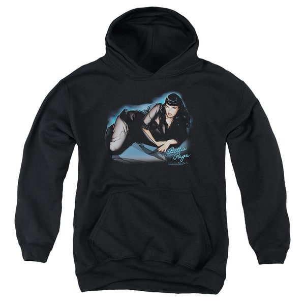 Bettie Page/Blue Moon Youth Pull-Over Hoodie in Black