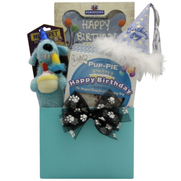Happy Birthday Charming Boy! Dog Birthday Gift Basket