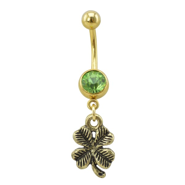 Supreme Jewelry & Accessories Antique Gold Surgical Steel Four Leaf Clover with Light Green Gem Stone