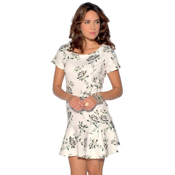 Sara Boo Women's Off-white and Green Polyester and Spandex Dropped-waist Floral Dress