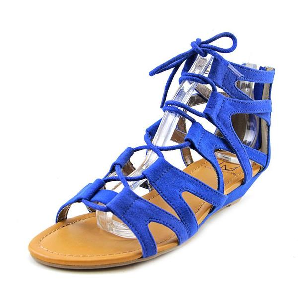 Material Girl Women's Opera Blue Faux Suede Low-heel Wedge Sandals