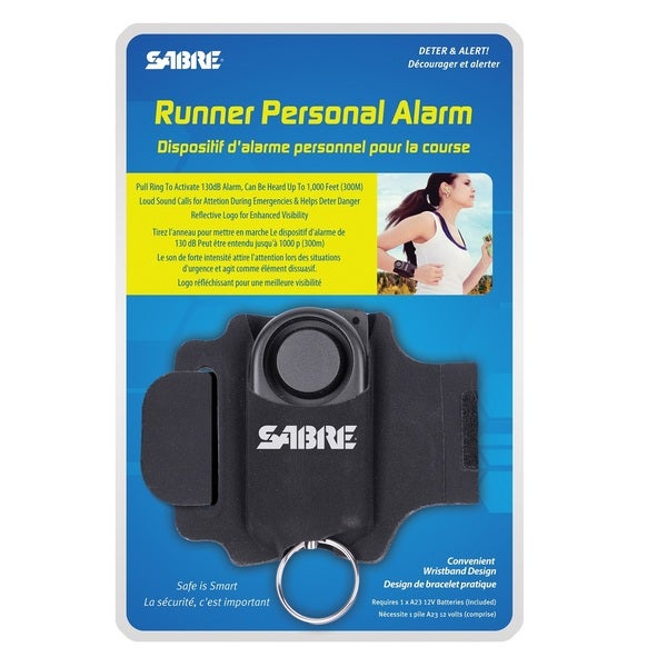 Sabre Runner Black 6-inch x 1.5-inch x 8.88-inch Personal Alarm with Adjustable Wrist Strap