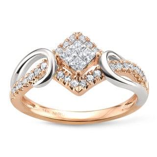 Montebello Jewelry 14k Two-tone Gold 3/8ct TDW Princess-cut White Diamond Ring (H-I, I1)