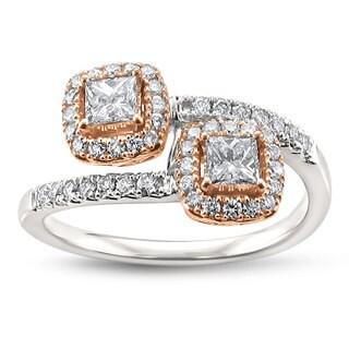 Montebello Jewelry 14k Two-tone Gold 3/4ct TDW Princess-cut White Diamond Ring (H-I, I1)