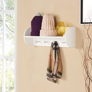 Danya B White Utility Shelf with Four Large Stainless Steel Hooks