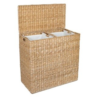 BirdRock Home Seagrass Dual Laundry Sorter with 2 Removable Canvas Liners