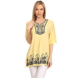 Women's Embroidered Cotton Short-sleeve Blouse