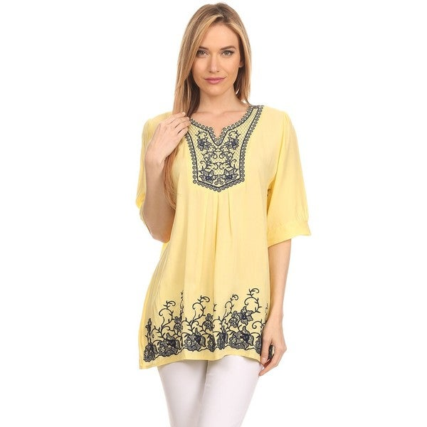 High Secret Women's Embroidered Cotton Short-sleeve Blouse
