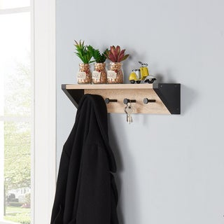 Danya B Weathered Oak and Black Hanging Rack with Top Shelf