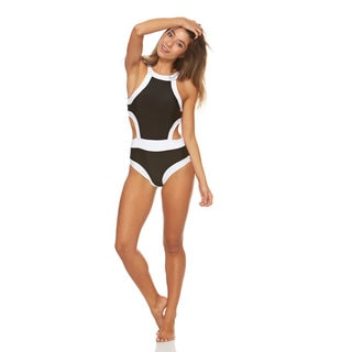 Bra Society Women's Black and White Polyamide and Spandex Retro Swimsuit
