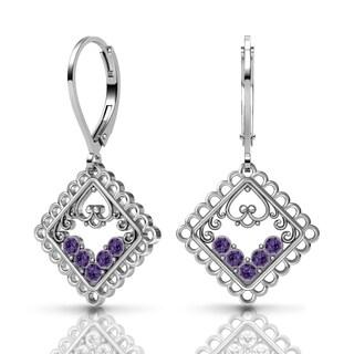 Lucia Costin Silver Purple Velvet Swarovski Crystal Earrings