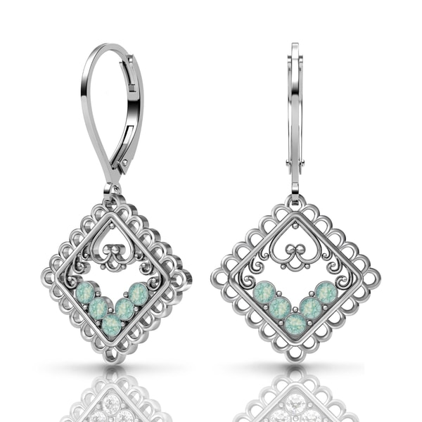 Lucia Costin Silver Mint Blue Swarovski Crystal Earrings 18768474