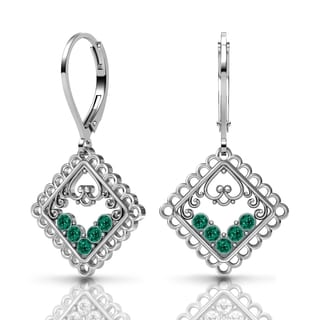 Lucia Costin Silver Emerald Green Swarovski Crystal Earrings