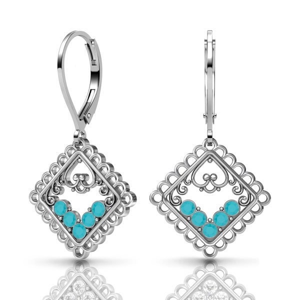 Lucia Costin Silver Turquoise Swarovski Element Crystal Earrings 18768661