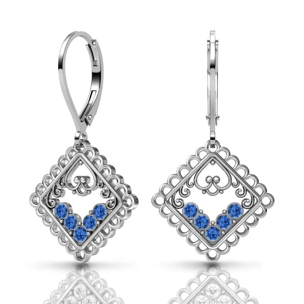 Lucia Costin Silver Sapphire Swarovski Crystal Earrings 18768663