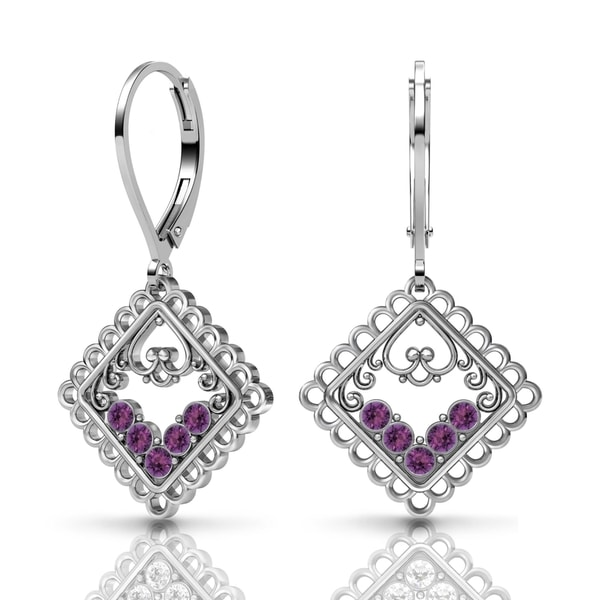 Lucia Costin Silver Purple Swarovski Crystal Earrings