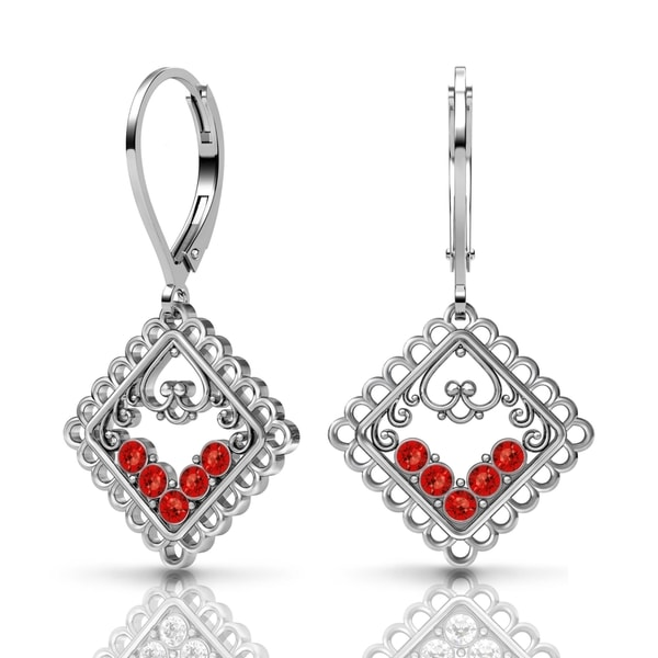 Lucia Costin Silver Red Swarovski Crystal Earrings 18768763