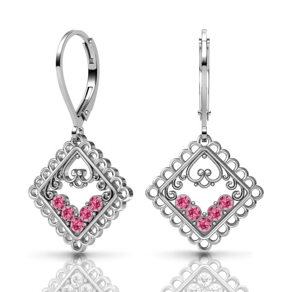 Lucia Costin Silver Pink Swarovski Crystal Earrings 18768765